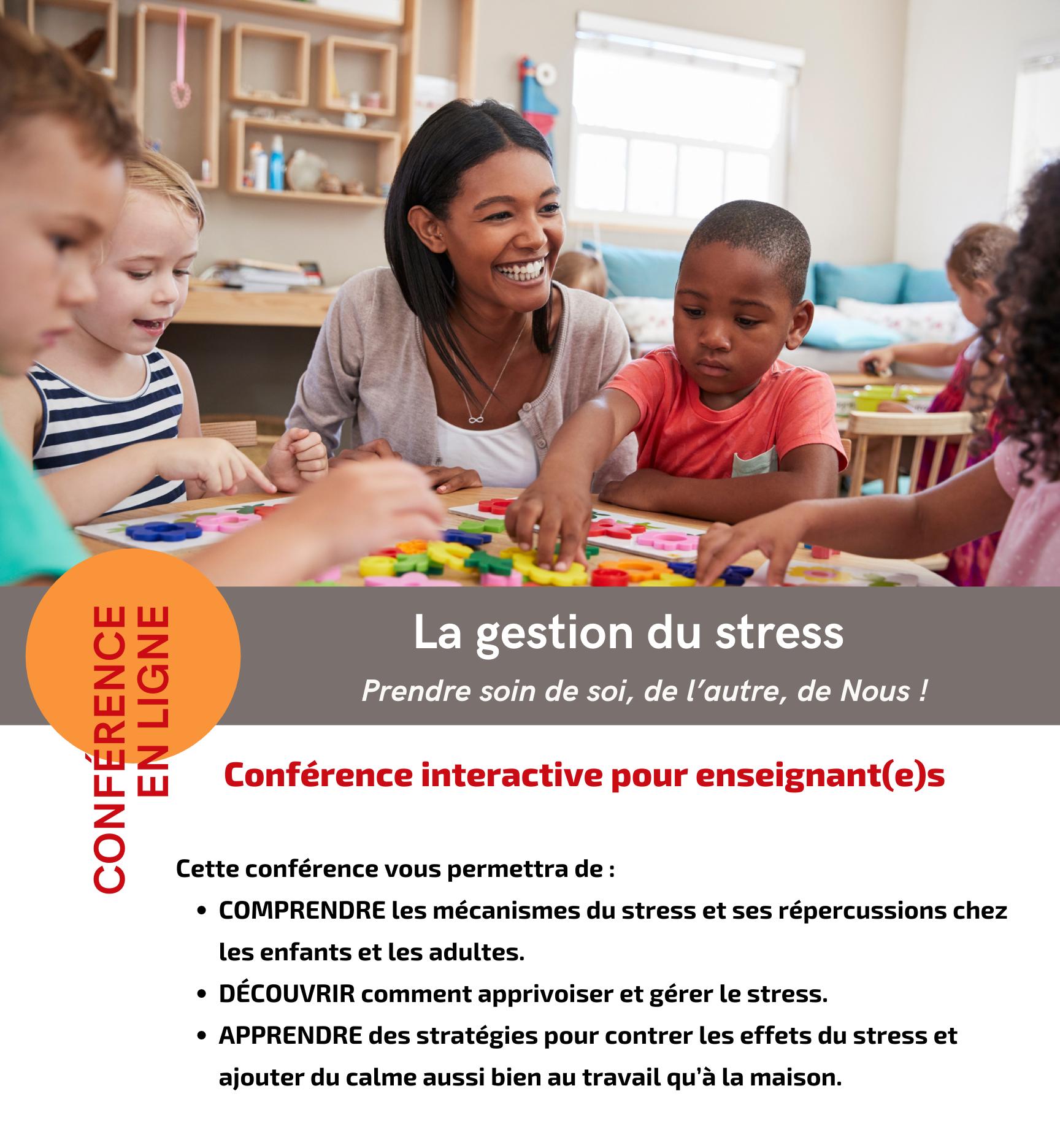 Visuel conférence gestion du stress pour enseignants